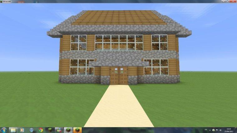 Maison en bois et en pierre architecture minecraft - Minecraft video maison ...