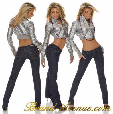 jeans fashion bleu slim sexy taille basse bootcut coupe droite veste tres courte argentee. Black Bedroom Furniture Sets. Home Design Ideas