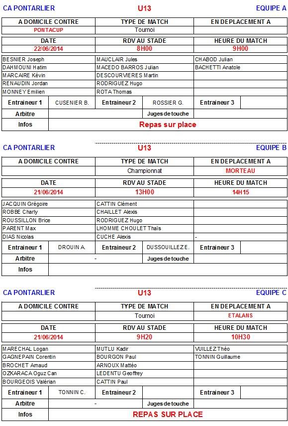 CONVOCATIONS EQUIPES SAMEDI 21 ET DIMANCHE 22 JUIN 2014