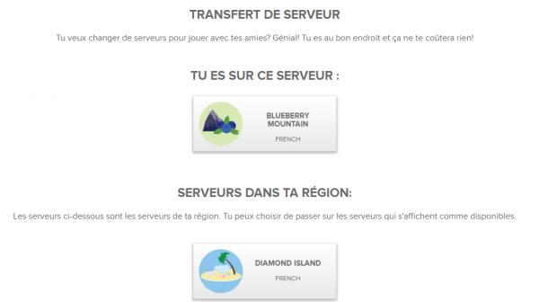 CHANGEMENT DE SERVEUR