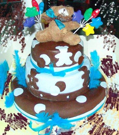 gateau ourson pate a sucre bleu et chocolat humm