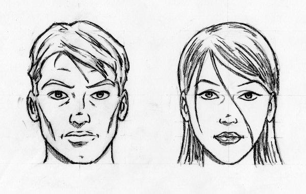 Croquis visages de face blog dessins a benfares - Dessin a calquer ...