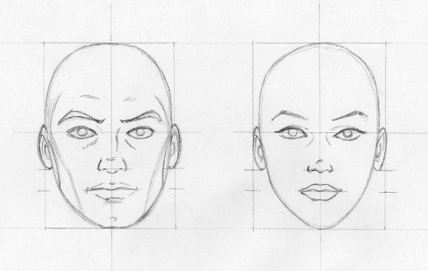 Croquis visages de face blog dessins a benfares - Dessin profil visage ...