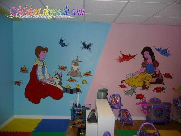 Peinture sur mur une garderie m lart for Dessin peinture mur