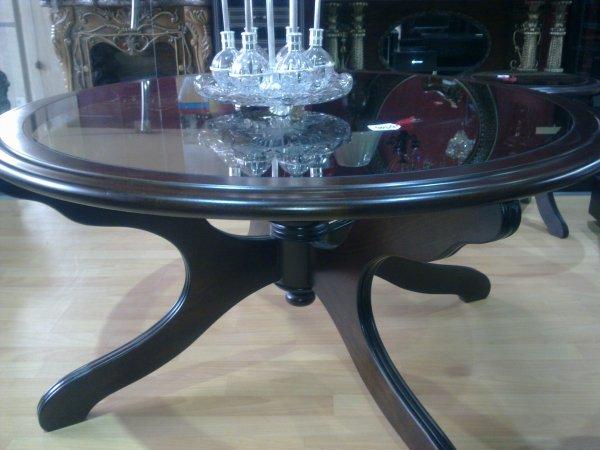 Table salon marocain avec verre ref 120 ameublement for Table a the marocaine