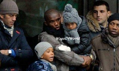 Samuel Eto'o & ses enfants (Photo r�cente)