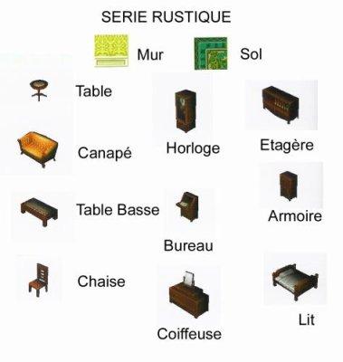 liste de meuble rustique animal crossing wild world. Black Bedroom Furniture Sets. Home Design Ideas