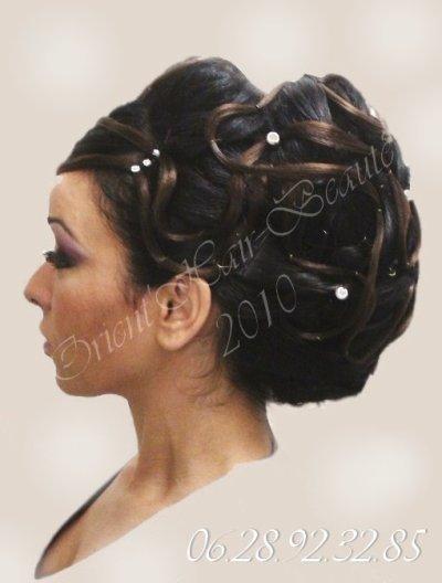 Chignon mari e bas 2010 noir et chocolat coiffure maquillage libanais henne Chignon mariee bas