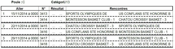 CALENDRIER PHASE 2 CHAMPIONNAT MASCULINS