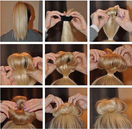 Как сделать прическу с бубликом на средние волосы пошагово