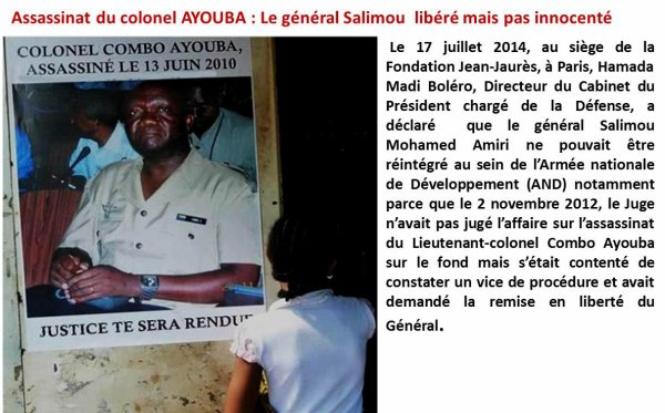 Assassinat du colonel AYOUBA : Le g�n�ral Salimou lib�r� mais pas innocent�.
