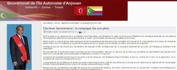 Anjouan : Le gouverneur se sert du site du gouvernorat pour faire campagne
