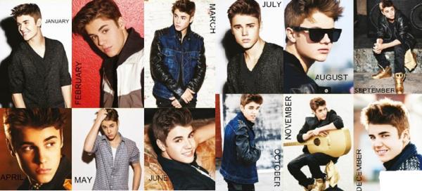 Calendrier Justin Bieber 2013-2014