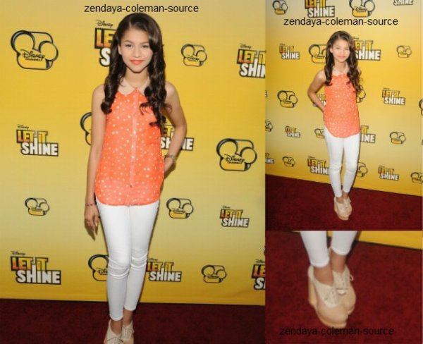 "Rattrapage de news : le 05 Juin, Zendaya �tait � la premi�re du nouveau film de Disney ""Let It Shine"" . La premi�re s'est d�roule � Captain Theater( Los Angeles.)"