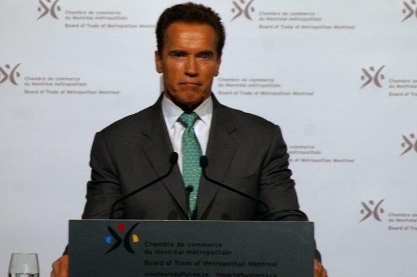 Arnold Schwarzenegger en conf�rence � la CCMM