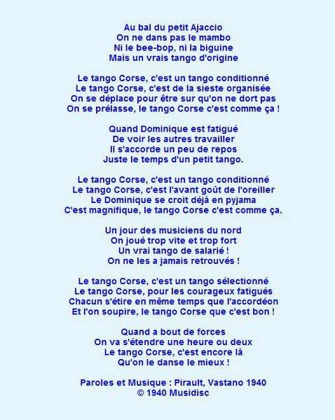 Parole Ah Le Tango Corse Les Cr 233 Ations De Marion Suite